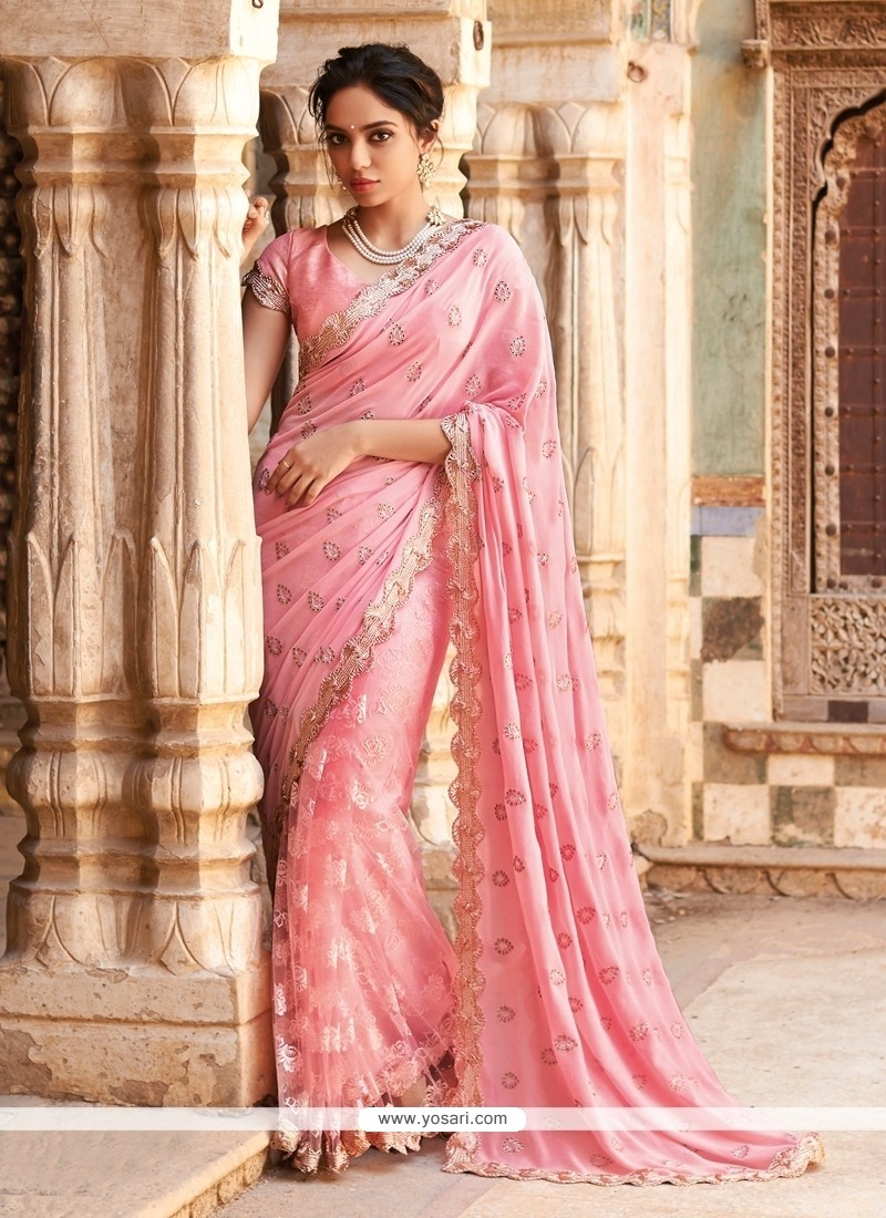 Zesty Net Lace Work Designer Saree