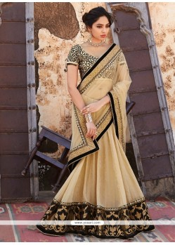 Flamboyant Georgette Cream Designer Saree