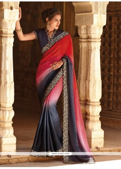 Deserving Chiffon Satin Red Resham Work Designer Saree