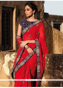 Exciting Red Embroidered Work Designer Saree