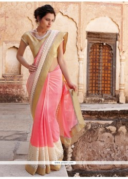 Heavenly Faux Chiffon Resham Work Designer Saree