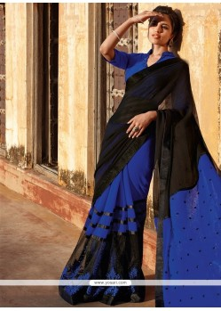Glowing Blue Designer Saree