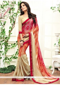 Elite Faux Chiffon Multi Colour Designer Saree