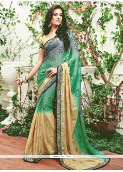Talismanic Multi Colour Faux Chiffon Designer Saree