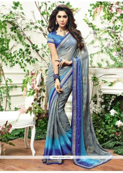 Bedazzling Brasso Patch Border Work Designer Saree