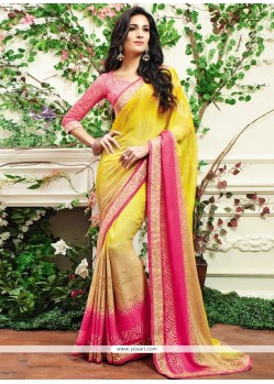 Vehemently Yellow Patch Border Work Faux Chiffon Designer Saree