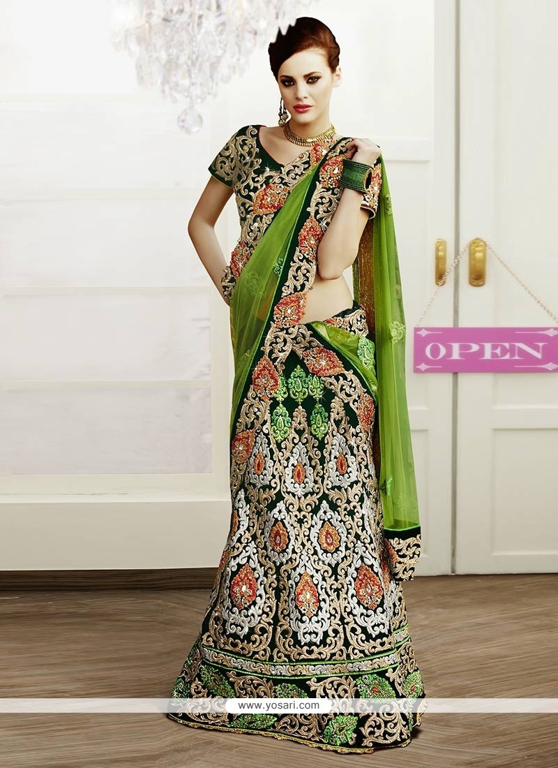 Splendid Green Resham Enhanced Velvet Lehenga Choli