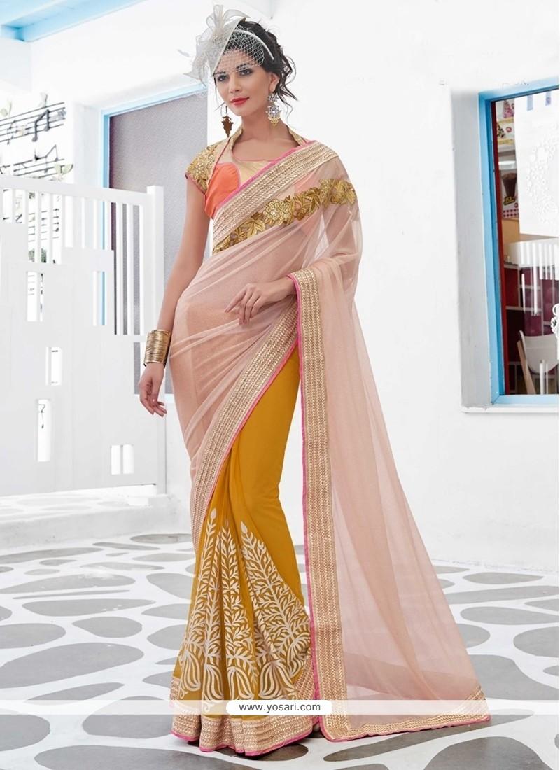 Gleaming Peach Designer Saree