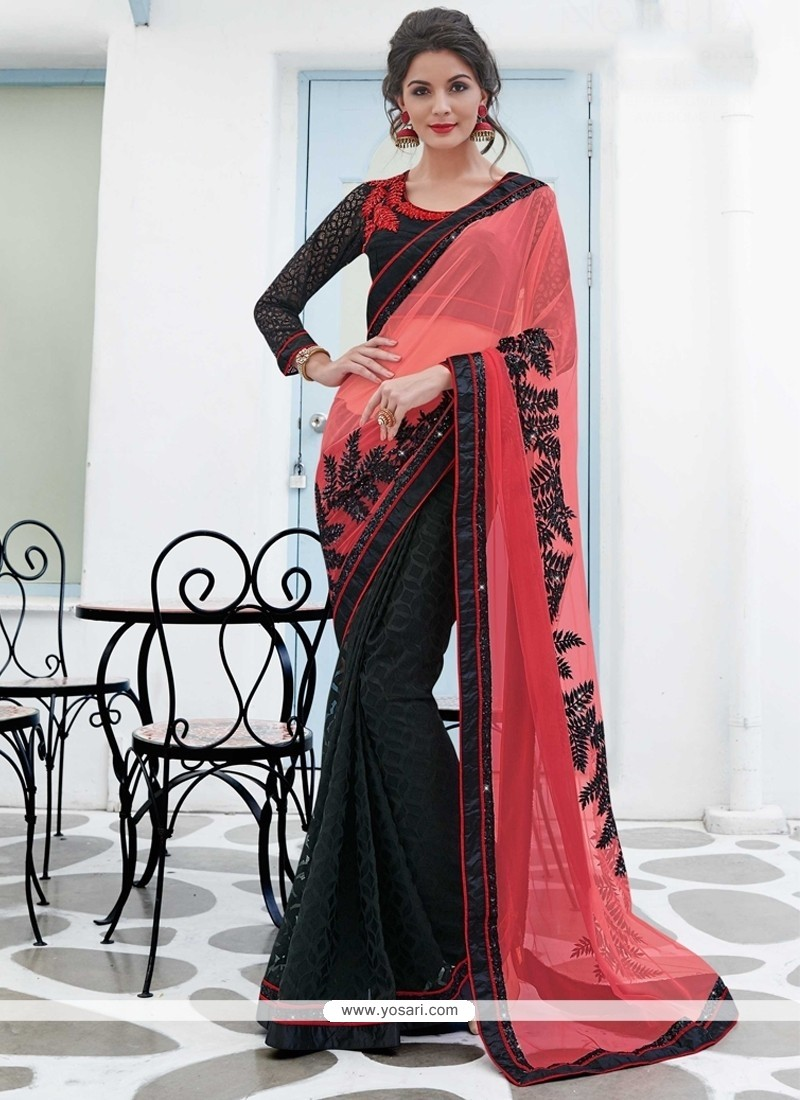 Exciting Net Black Designer Saree