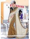 Enticing Patch Border Work Faux Chiffon Designer Saree