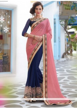 Distinguishable Faux Chiffon Embroidered Work Designer Saree