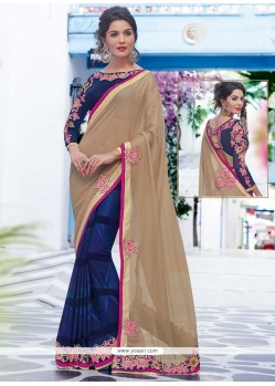 Astounding Navy Blue Designer Saree