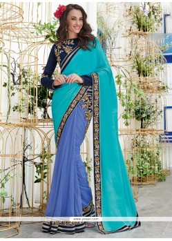 Specialised Chiffon Satin Designer Saree