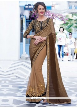 Tempting Brown Patch Border Work Jacquard Designer Saree