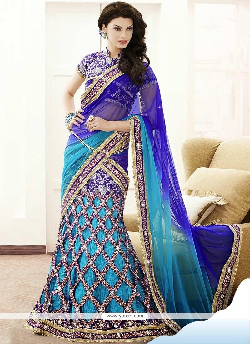 Sky Blue Resham Fancy Fabric Lehenga Choli
