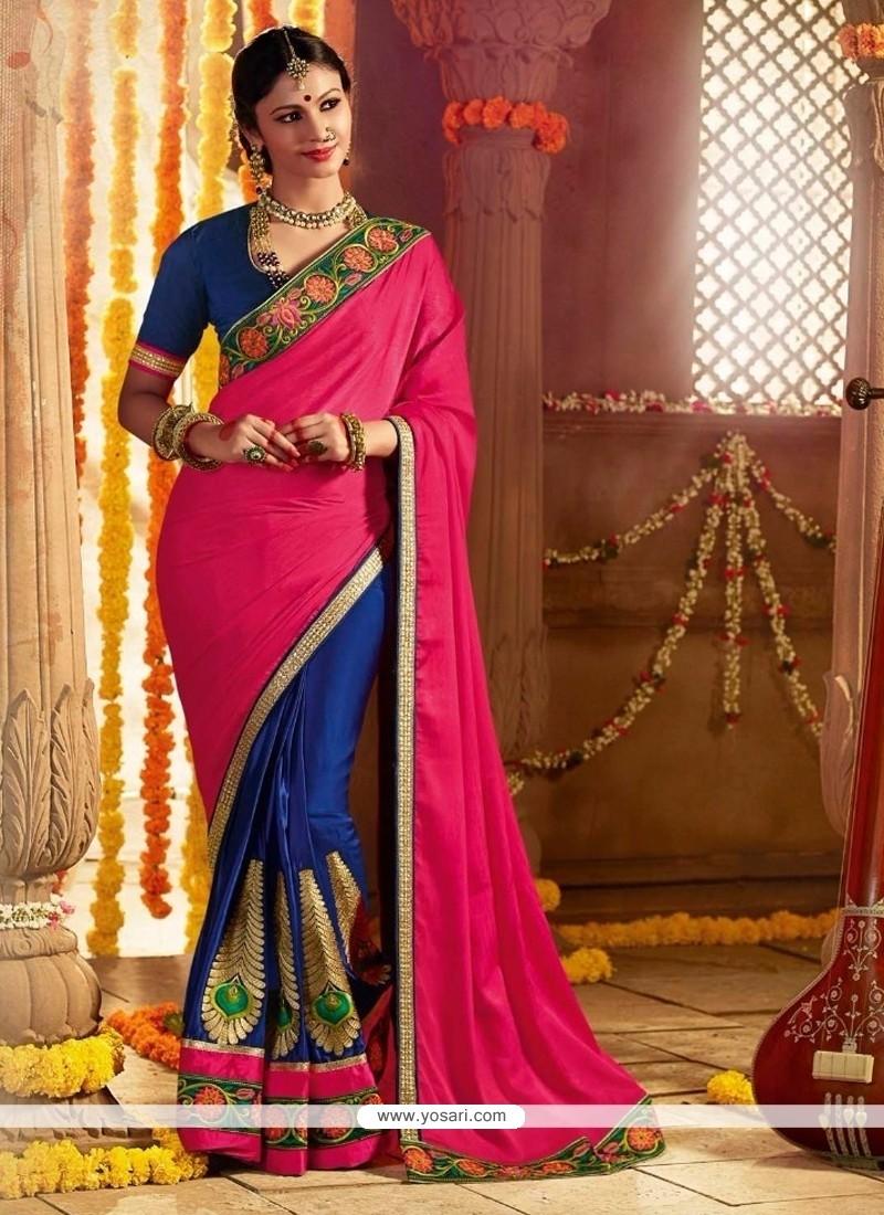 Splendid Patch Border Work Blue And Hot Pink Silk Designer Saree