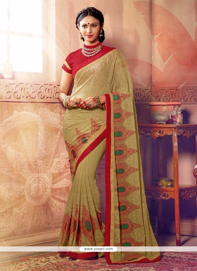 Fascinating Embroidered Work Silk Designer Saree