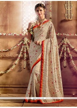 Miraculous Silk Cream Designer Saree