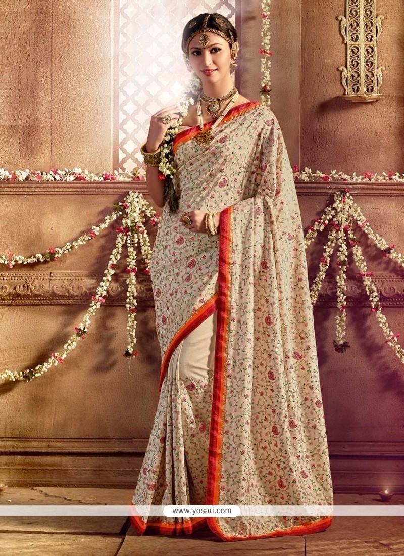 Miraculous Silk Cream Designer Saree