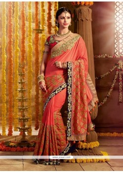 Breathtaking Silk Embroidered Work Designer Saree