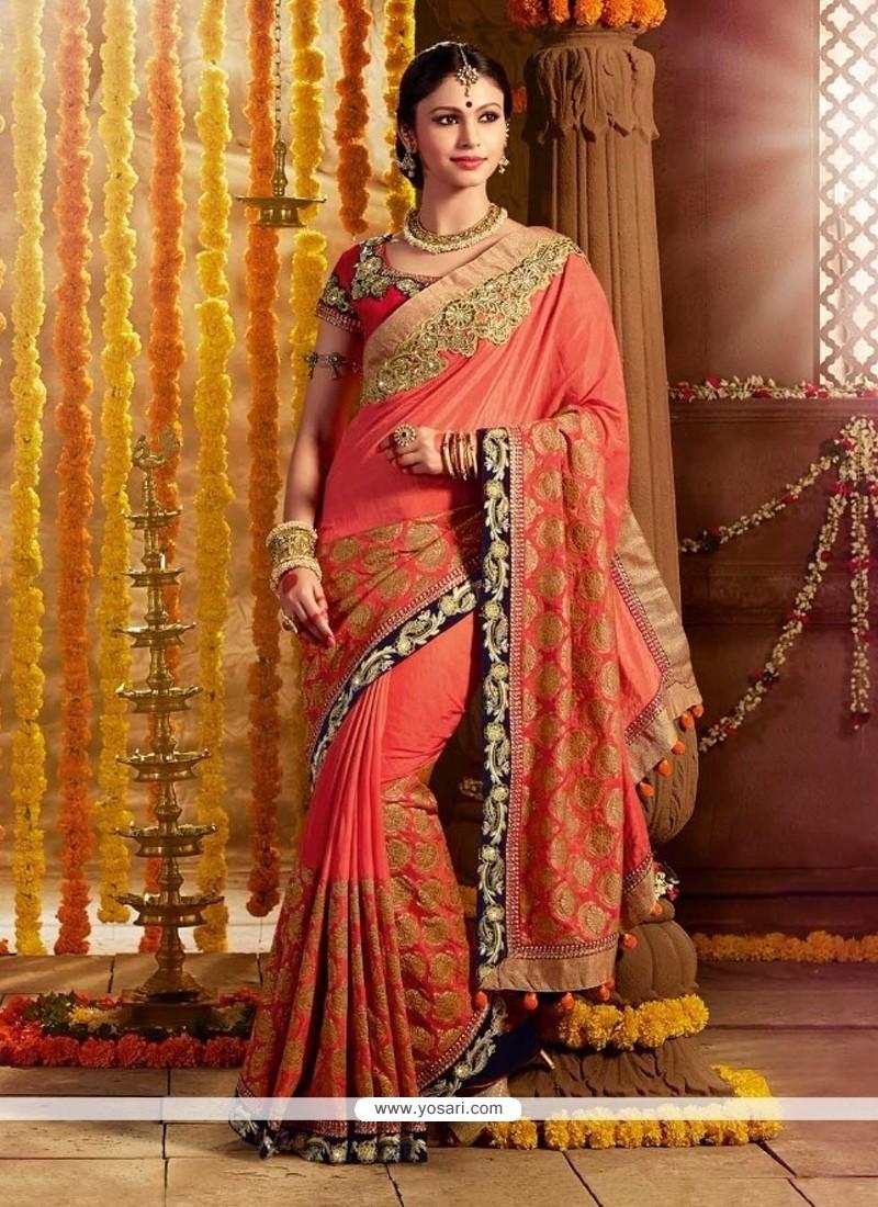 Breathtaking Silk Embroidered Work Designer Saree