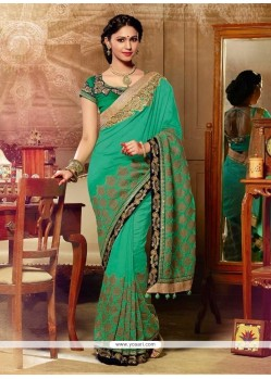 Glorious Sea Green Designer Saree