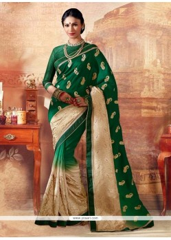 Sonorous Green Embroidered Work Silk Designer Saree