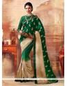 Sonorous Green Embroidered Work Silk Designer Saree