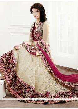 Off White Patch Border Work Net And Jacquard Lehenga Choli