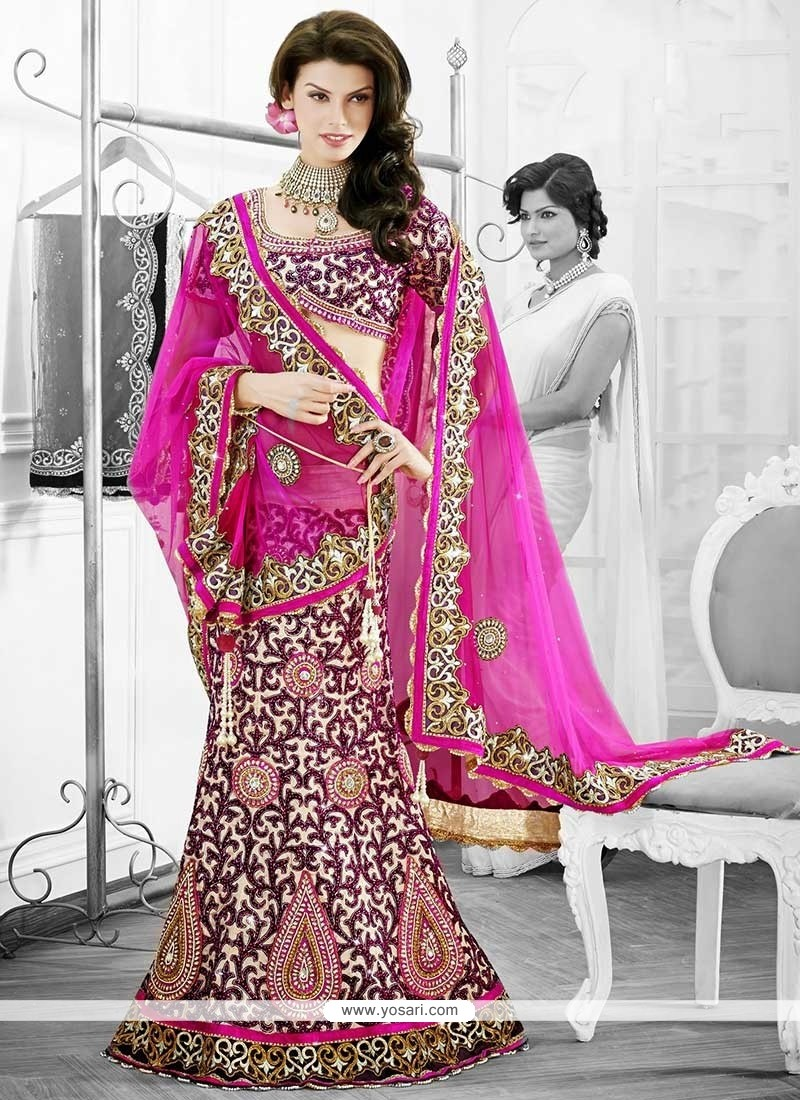 Dazzling Cream Resham Work Art Silk Lehenga Choli