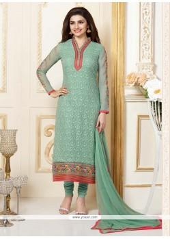 Prachi Desai Sea Green Georgette Churidar Designer Suit