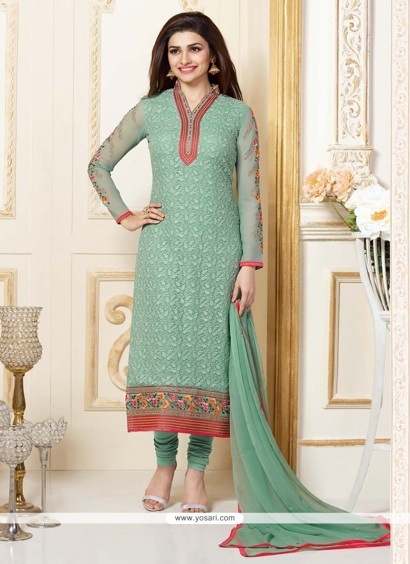 fc91c23a6c Shop online Prachi Desai Sea Green Georgette Churidar Designer Suit