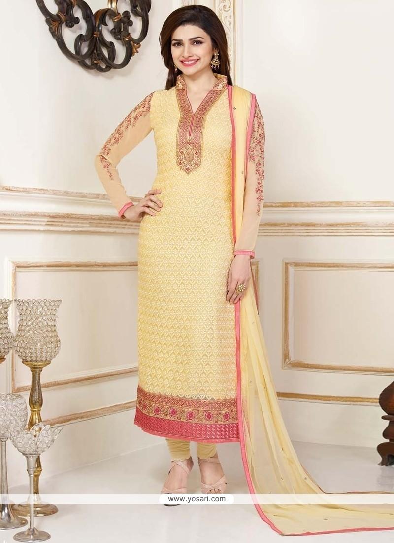 Prachi Desai Lace Work Churidar Designer Suit