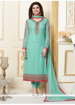 Prachi Desai Embroidered Work Sea Green Churidar Designer Suit