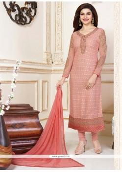 Prachi Desai Resham Work Peach Churidar Designer Suit