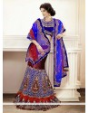 Fab Maroon And Blue Applique Work Velvet Lehenga Choli