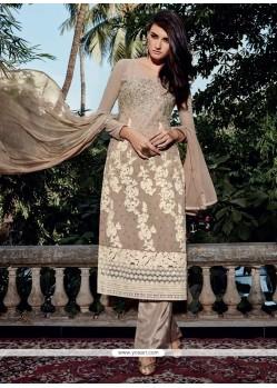 Alluring Georgette Beige Embroidered Work Designer Pakistani Suit