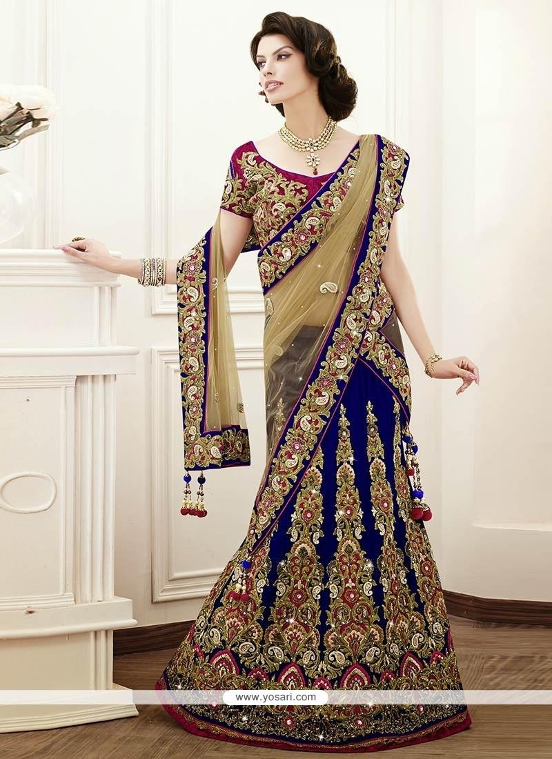 Royal Blue Resham And Crystals Work Velvet Lehenga Choli
