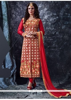 Flawless Cotton Red Resham Work Designer Straight Salwar Kameez