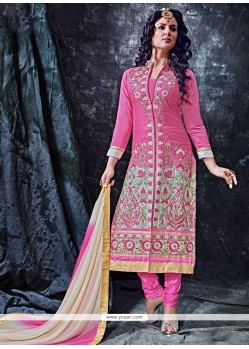 Fabulous Lace Work Hot Pink Designer Straight Salwar Suit