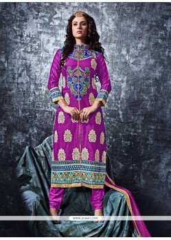 Wonderous Cotton Purple Resham Work Designer Straight Salwar Suit