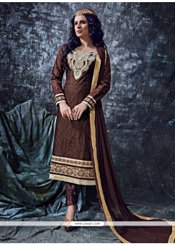 Engrossing Cotton Brown Designer Straight Salwar Kameez