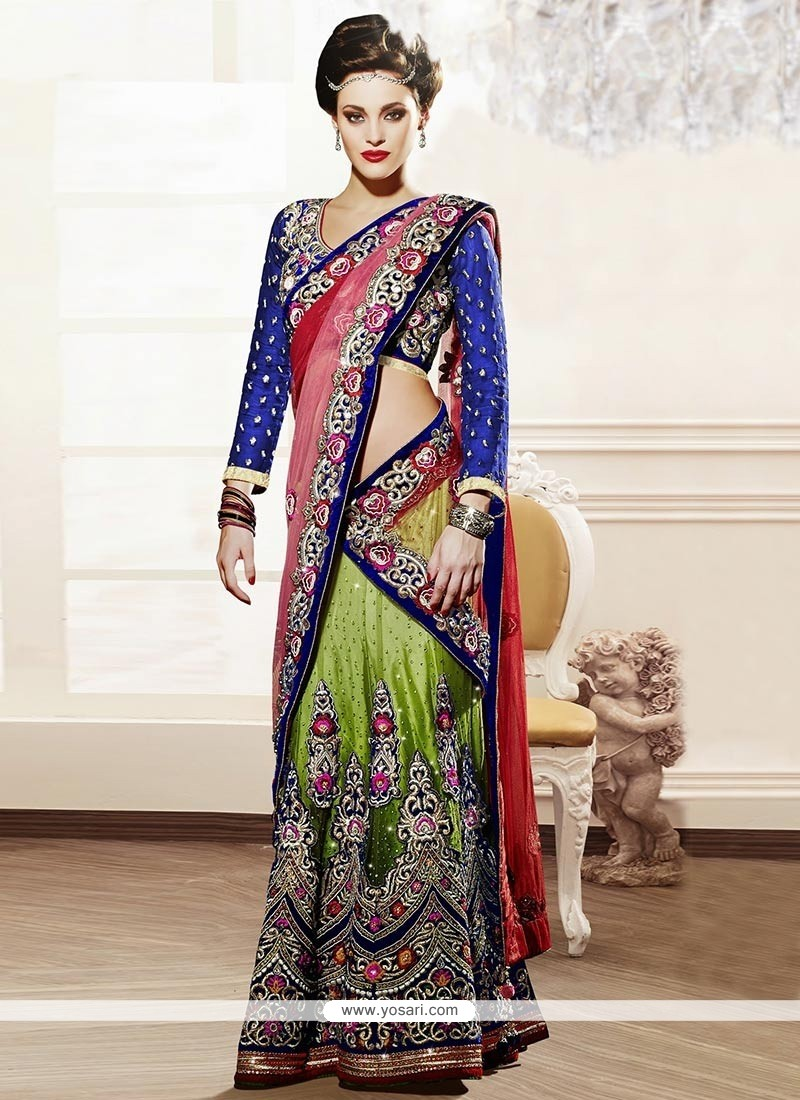 Charming Green Crystals Work Net Lehenga Choli