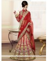 Red And Pink Stone Enhanced Velvet Lehenga Choli
