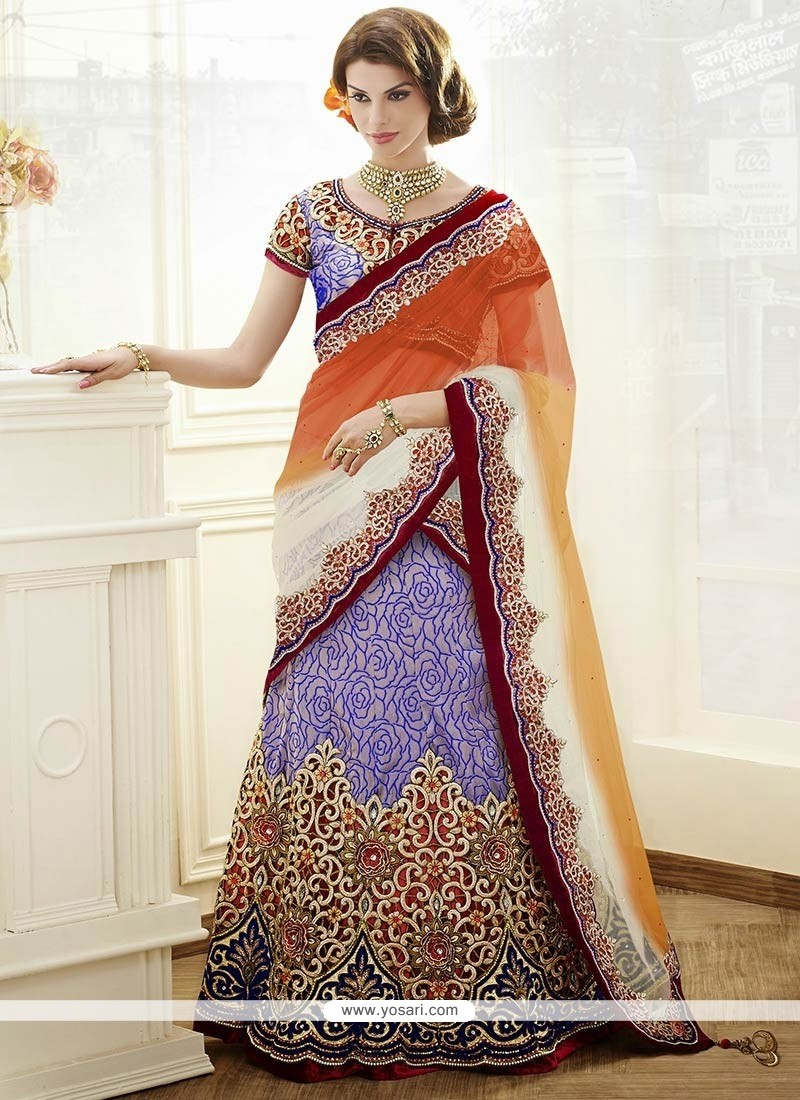 Off White And Orange Resham Work Brocade Lehenga Choli