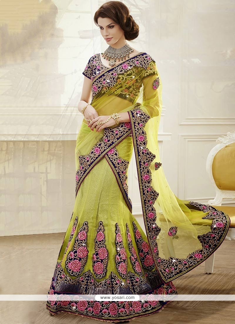 Green Embroidery Patch Work Net Lehenga Choli