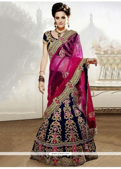 Navy Blue Stone And Zari Work Velvet Lehenga Choli