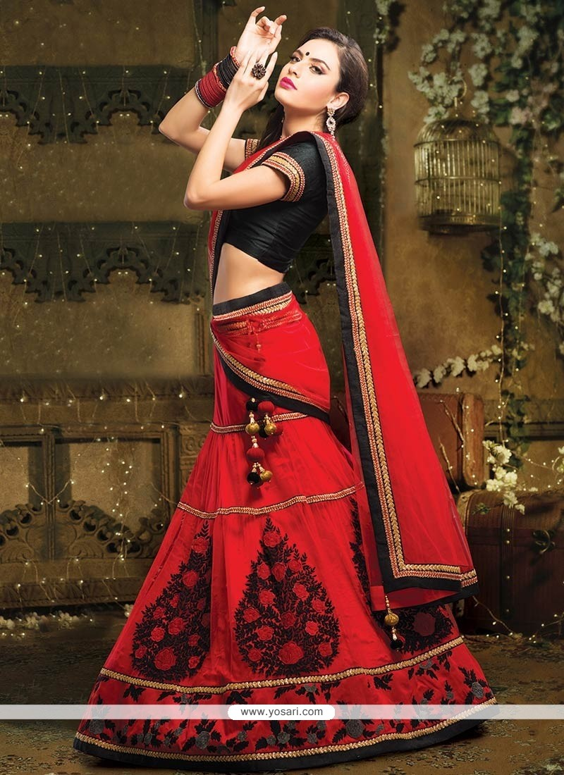 Beautiful Red Resham Work Net Lehenga Choli