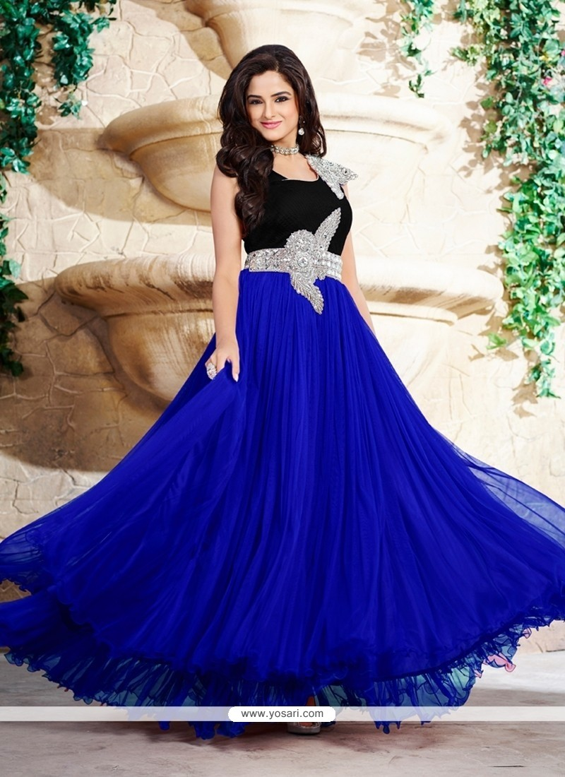 Shop online Sunshine Stone Work Satin Blue Designer Gown
