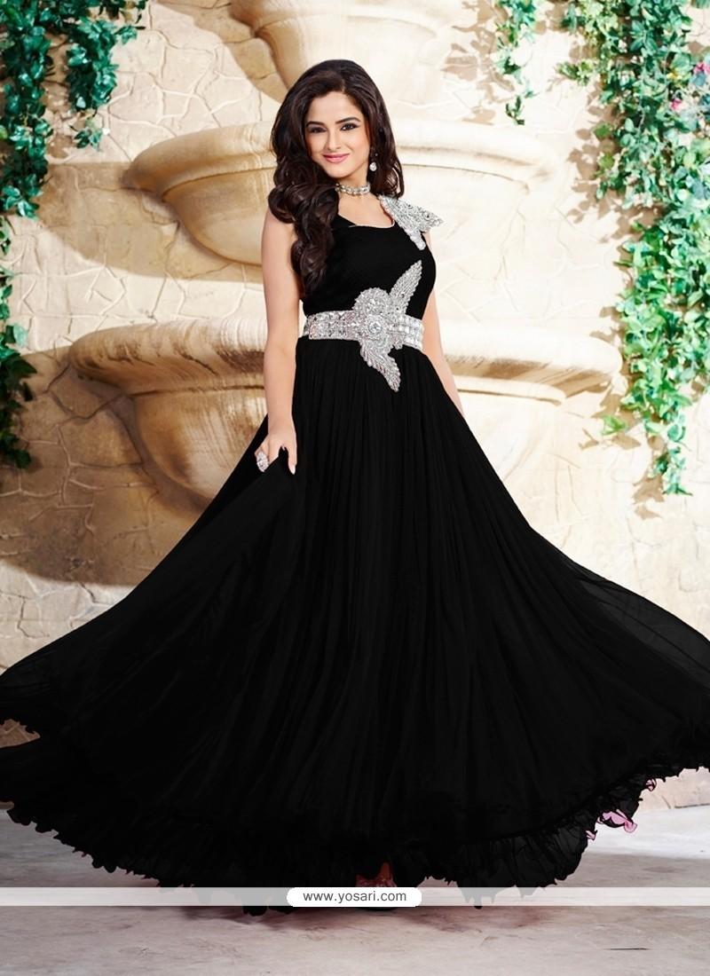 614fad7d11f Shop online Satin Black Embroidered Work Designer Gown
